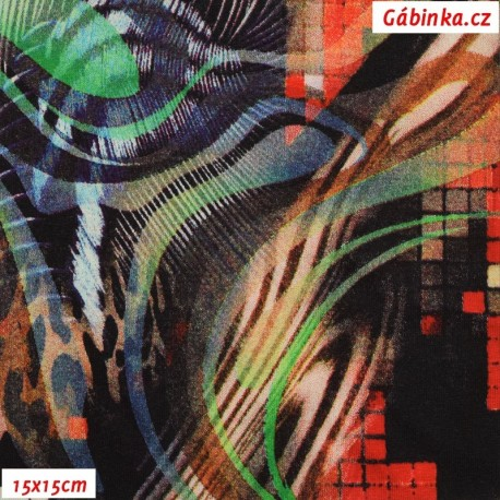 Viskóza s EL, Zvířecí motivy hnědé červené modré, 15x15 cm