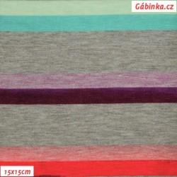 Viskóza s EL - Proužky barevné na šedé, 15x15 cm