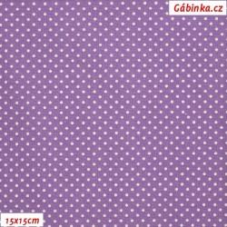 Plátno - Puntíky 1 mm bílé na tmavě fialové, 15x15 cm