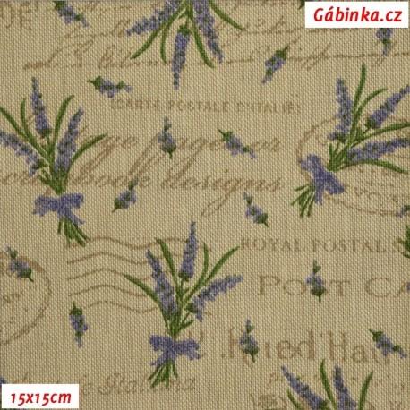 Režné plátno - Levandule s nápisy, 15x15 cm