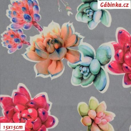 Viskóza tkanina - Květiny na šedé, 15x15 cm