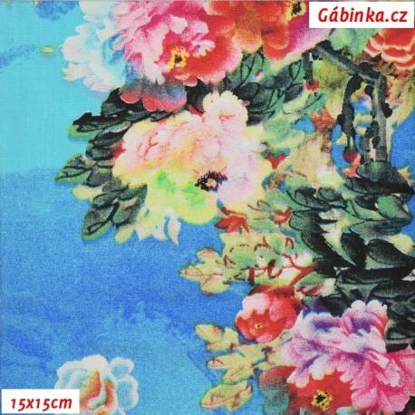 Viskóza tkanina - Květiny na modré, 15x15 cm