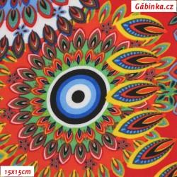 Viskóza tkanina - Mandaly na červené, 15x15 cm