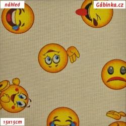 Režné plátno - Emoji, smajlíci, šíře 140 cm, 10 cm