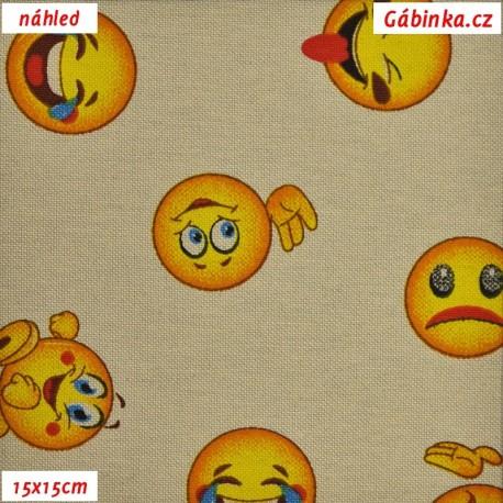 Režné plátno - Emoji, smajlíci, 15x15 cm náhled