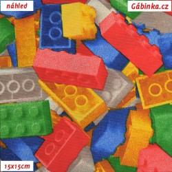 Režné plátno - Lego kostičky, šíře 140 cm, 10 cm