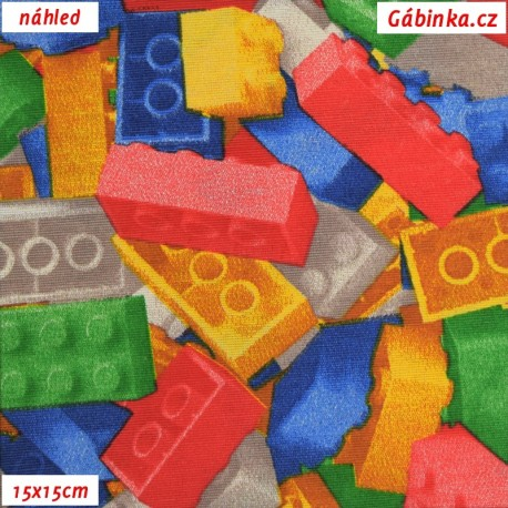 Režné plátno - Lego kostičky, 15x15 náhled