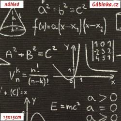 Režné plátno - Matematika na černé, šíře 140 cm, 10 cm