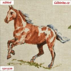 Režné plátno - Koníci, šíře 140 cm, 10 cm