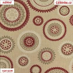 Režné plátno - Mandaly vínové, šíře 140 cm, 10 cm