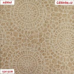 Režné plátno - Mandaly bílé, šíře 140 cm, 10 cm