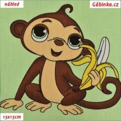 Plátno - Opičky s banány na světle zelené, šíře 160 cm, 10 cm