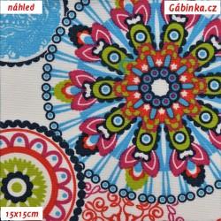 Režné plátno - Mandaly barevné na bílé, šíře 140 cm, 10 cm