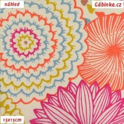 Režné plátno - Mandaly oranžové a růžové na smetanové, 15x15 cm náhled