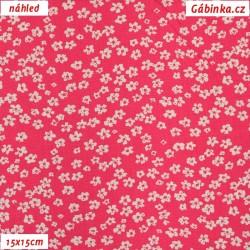Plátno dovoz - Drobné kytičky na sytě růžové, šíře 145 cm, 10 cm