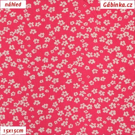 Plátno dovoz - Drobné kytičky na sytě růžové, 15x15 cm náhled