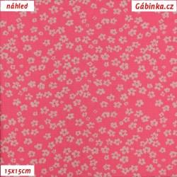Plátno dovoz - Drobné kytičky na světle růžové, šíře 145 cm, 10 cm