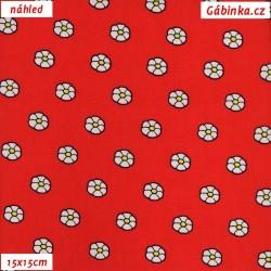 Plátno dovoz - Kytičky na červené, šíře 145 cm, 10 cm
