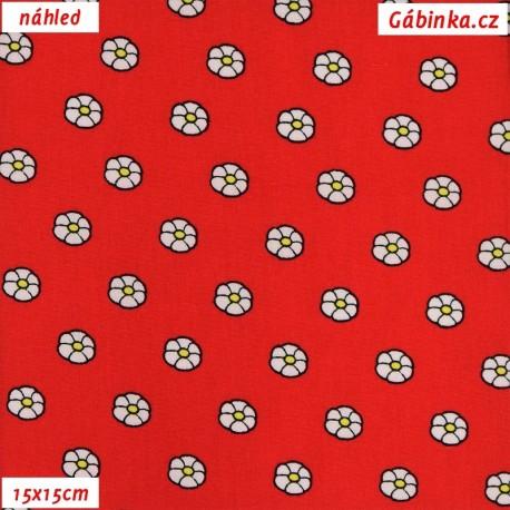 Plátno dovoz - Kytičky na červené, 15x15 cm náhled