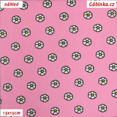 Plátno dovoz - Kytičky na světlounce růžové, 15x15 cm náhled