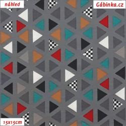 Látka úplet s EL - Trojúhelníčky barevné na šedé, 15x15 cm náhled
