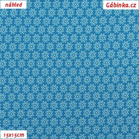 Látka úplet s EL - Malé kytičky na modré, 15x15 cm náhled