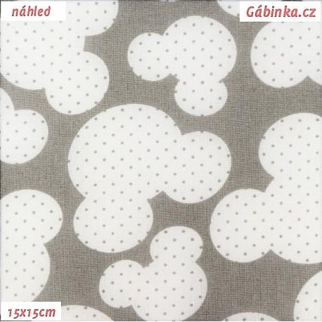 Plátno - Hlavy myšek s puntíky na světle šedé, 15x15 cm