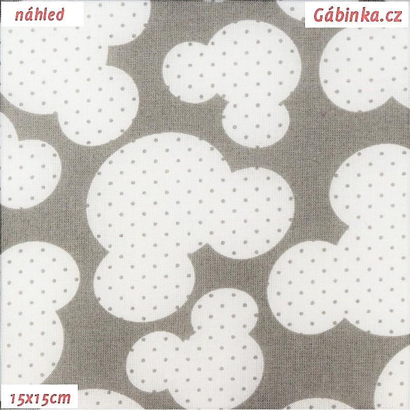 8c8d4a8fca59 Plátno - Hlavy myšek s puntíky na světle šedé