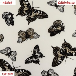 Látka popelín - Motýlci hnědí na bílé, ATEST, šíře 150 cm, 10 cm
