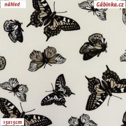 Popelín - Motýlci hnědí na bílé, šíře 150 cm, 10 cm