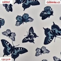 Látka popelín - Motýlci modří na bílé, ATEST, šíře 150 cm, 10 cm