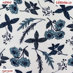 Látka popelín - Kytičky a lístečky modré na bílé, ATEST, 15x15 cm