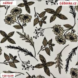 Látka popelín - Kytičky a lístečky hnědé na bílé, ATEST, šíře 150 cm, 10 cm