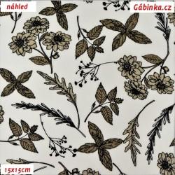 Popelín - Kytičky a lístečky hnědé na bílé, šíře 150 cm, 10 cm