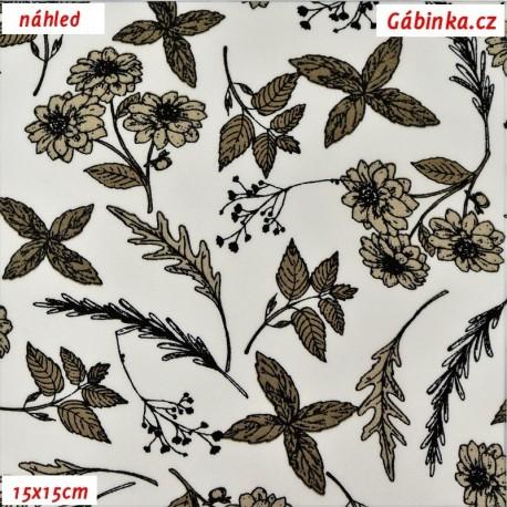 Látka popelín - Kytičky a lístečky hnědé na bílé, ATEST, 15x15 cm