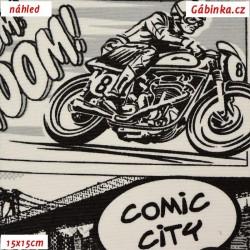 Režné plátno - Komiks černobílý, šíře 140 cm, 10 cm