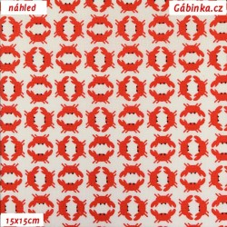 Plátno - Mini krabi červení na bílé, 15x15 cm náhled