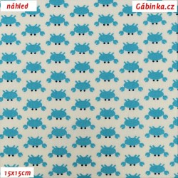 Plátno - Mini krabi tyrkysoví na bílé, šíře 160 cm, 10 cm