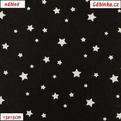 Plátno - Malé hvězdičky bílé na černé, šíře 160 cm, 10 cm