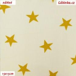 Plátno - Kolekce hořčicová, Hvězdy na přírodní bílé, šíře 150 cm, 10 cm, Atest 1