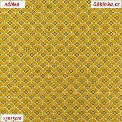 Plátno - Kolekce hořčicová, Květiny v kolečkách, šíře 150 cm, 10 cm, Atest 1