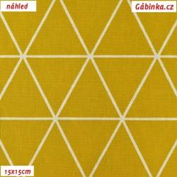 Plátno - Kolekce zlatá, Trojúhelníky, 15x15 cm