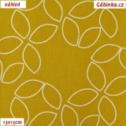 Plátno - Kolekce zlatá, Větší květiny v ornamentech,15x15 cm