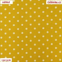 Plátno - Kolekce zlatá, Větší puntíky, 15x15 cm