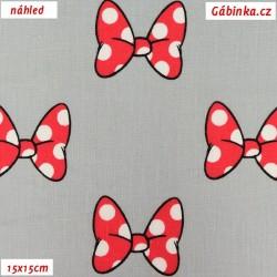 Plátno - Červené mašličky na šedé, 15x15 cm