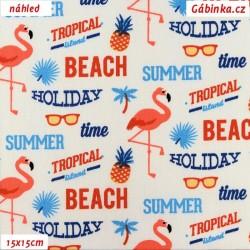Plátno - Summer Beach na bílé, šíře 160 cm, 10 cm
