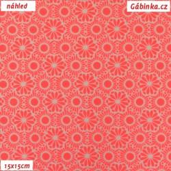 Plátno - NEON růžové kytičky, 15x15 cm