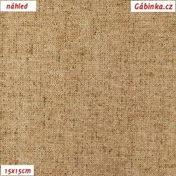 Režné plátno - Hnědý melír, 15x15 cm