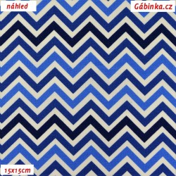 Plátno - Cik-cak tenký v odstínech modré, šíře 150 cm, 10 cm