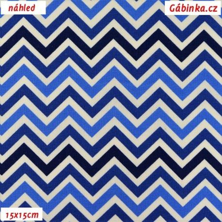 Plátno - Cik-cak tenký v odstínech modré, 15x15 cm